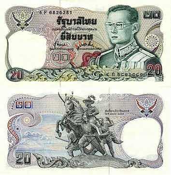 Pieces De Monnaies Et Billets De Banque Thailandais