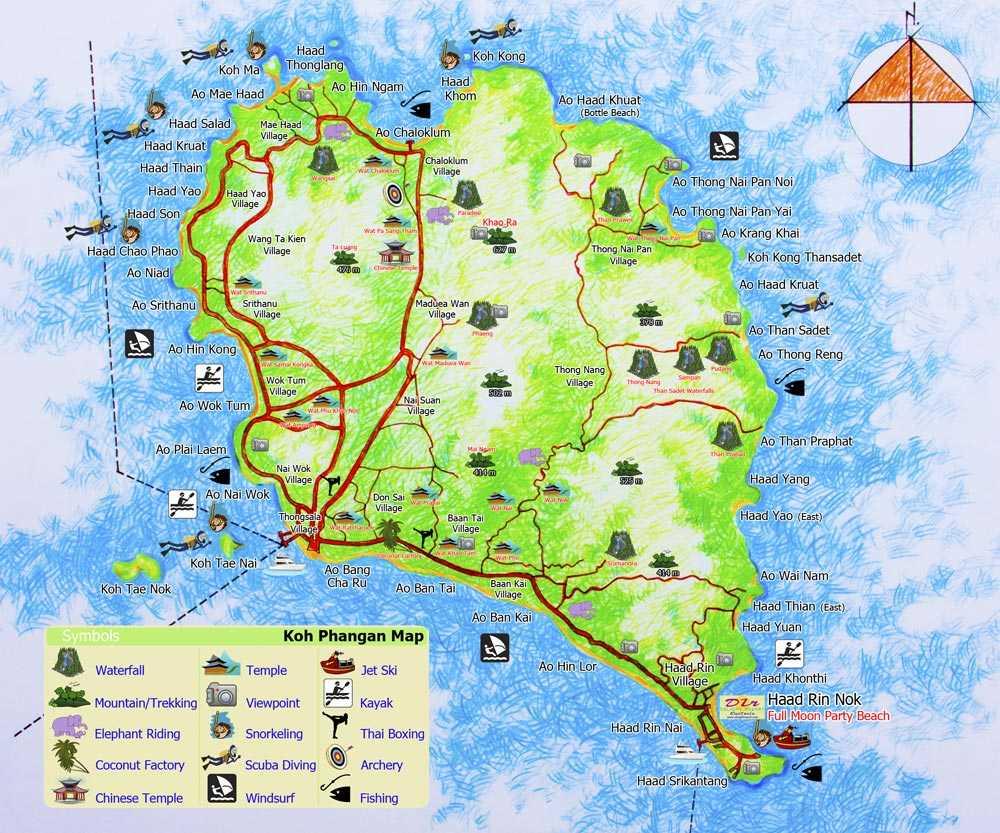 Carte Randonnee Thailande.L Ile De Koh Phangan Dans Le Golfe De Thailande Le Guide