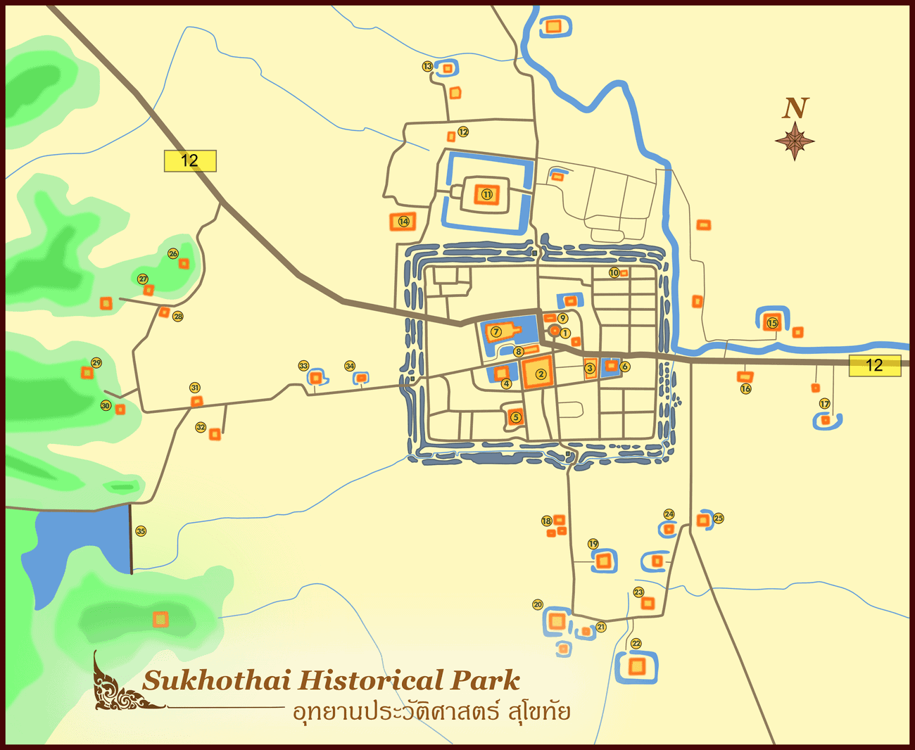 Carte Thailande Sukhothai.La Ville De Sukhothai Et Son Site Historique