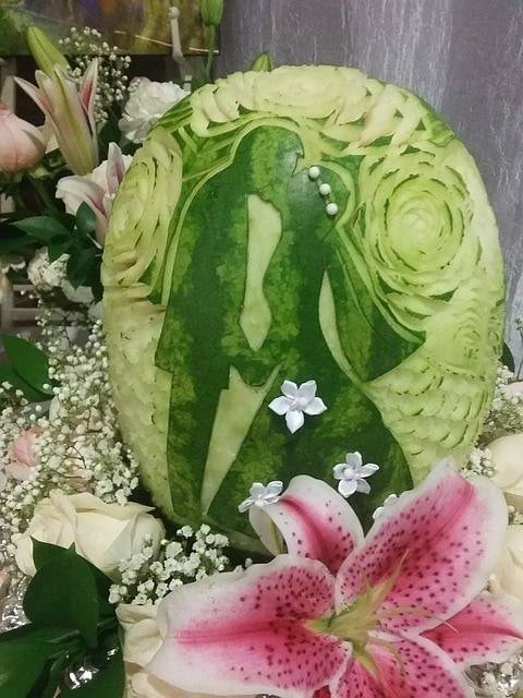 Fruit carved for a wedding