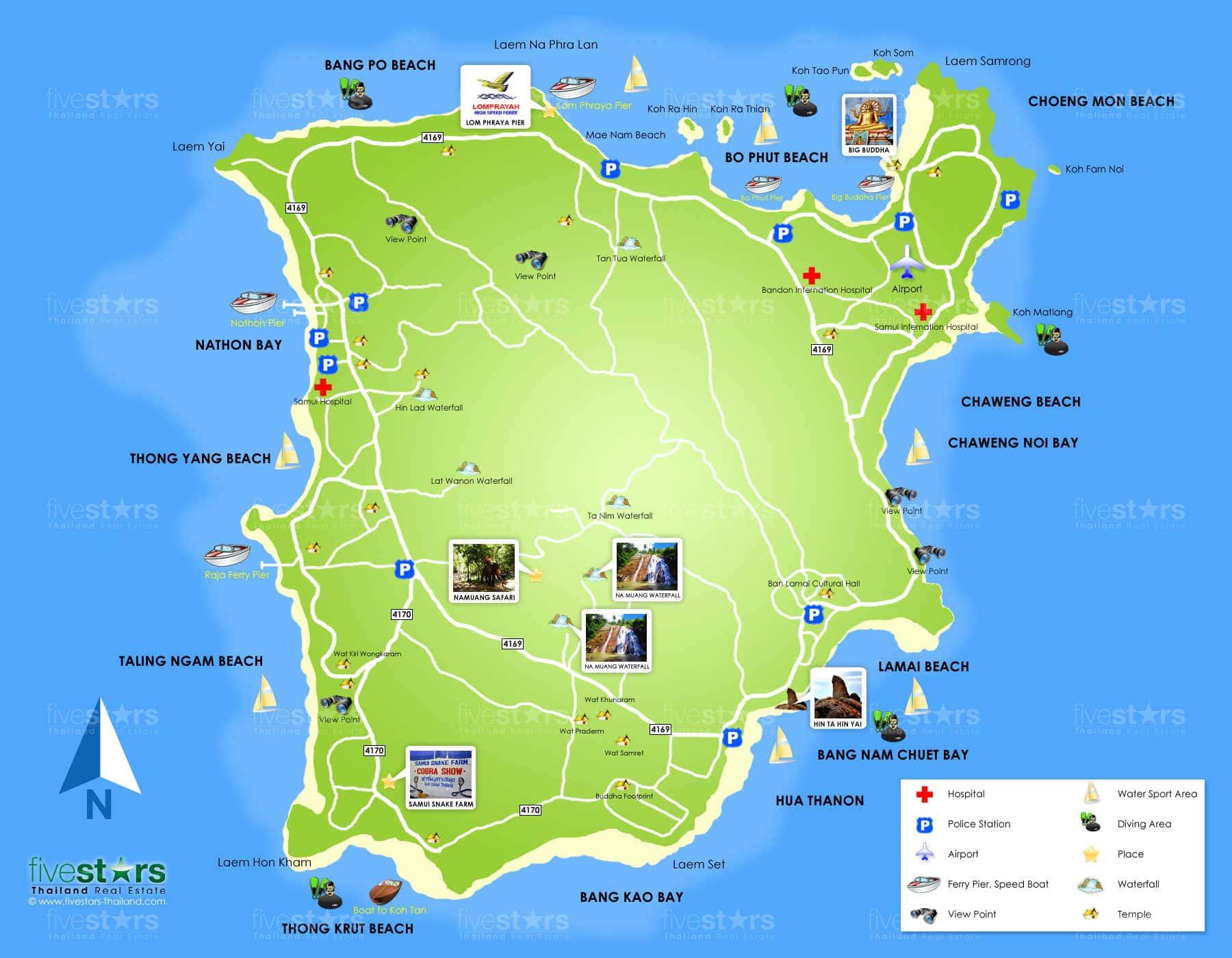 Carte Thailande Imprimer.Cartes De L Ile De Koh Samui Cartes De Thailande Tous Les Plans